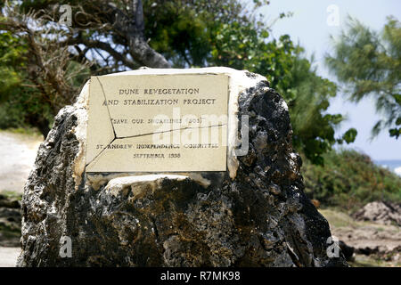 Plaque anouncing 'dune revegetation and stabilization project' - Stock Image