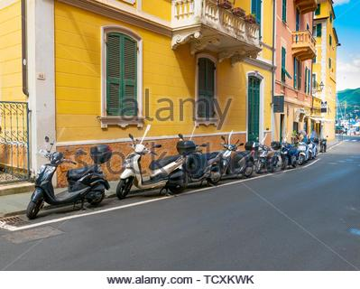 Parked Scooters, Santa Margherita Ligure, Italy. - Stock Image
