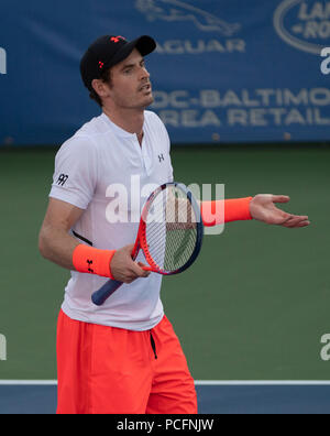 Washington DC, USA. 1st Aug 2018. Andy Murray (GBR) defeated Kyle Edmund (GBR) 3-6, 6-4, 7-5, at the CitiOpen being played at Rock Creek Park Tennis Center in Washington, DC, . © Leslie Billman/Tennisclix/CSM Credit: Cal Sport Media/Alamy Live News - Stock Image