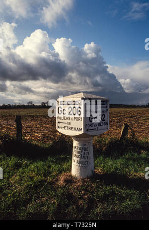France Road Sign Normandy. 1990 Michelin road sign - Stock Image