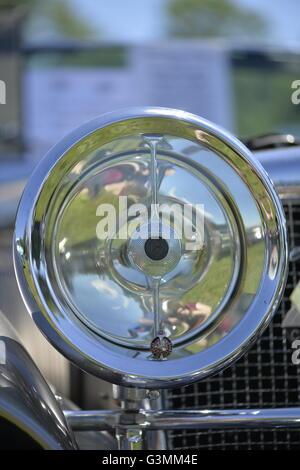 Westbury, New York, USA. June 12, 2016.  Round chrome Bi-flex Long Range Headlamp, with Lucas Prince of Darkness - Stock Image