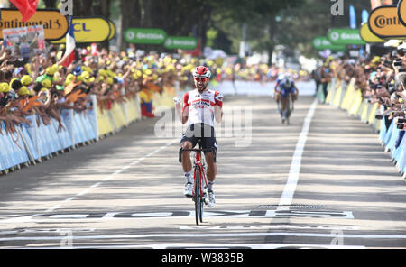 Macon to Saint-Etienne, France. 13th July 2019. Macon to Saint-Etienne, France. Macon to Saint-Etienne, France. 13th July 2019, Macon to Saint-Etienne, France; Tour de France cycling tour, stage 8; Thomas De Gendt, (BEL) Lotto Soudal crosses the finish line to win the stage Credit: Action Plus Sports Images/Alamy Live News Credit: Action Plus Sports Images/Alamy Live News Credit: Action Plus Sports Images/Alamy Live News - Stock Image