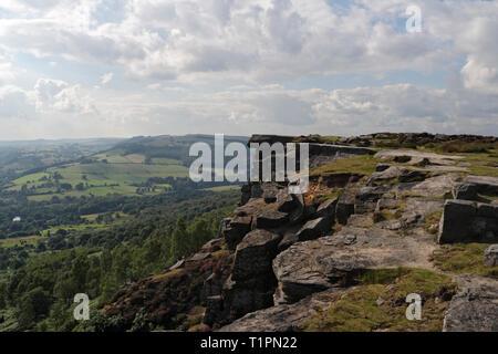 Curbar Edge in the Derbyshire Peak District, England UK - Stock Image