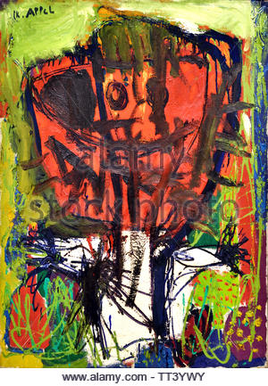 Terror in Grass by Karel Appel born in 1921 Dutch painter, (sculptor,  poet, Avant-garde movement Cobra), The, Netherlands. - Stock Image