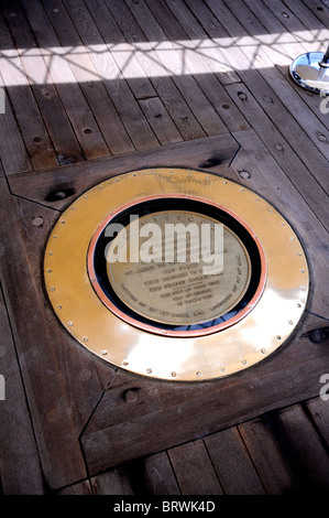 Plaque commemorating the surrender of Japan to end World War 2. Battleship Missouri Memorial, Pearl Harbour, Hawaii - Stock Image