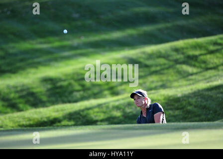 Rancho Mirage, California, USA. 2nd Apr, 2017. Suzann Pettersen on the 17th during the final round of the ANA Inspiration - Stock Image