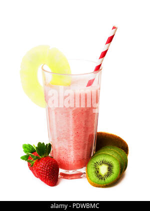Pink strawberry smoothie in glass with straw and scattered berries, kiwi and a pineapple, pink milkshake, healthy drink isolated on white background - Stock Image