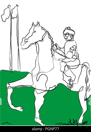 Horse and jockey.  Simple line drawing of horse and jockey in the racing area. - Stock Image