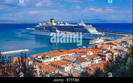 Costa Cruises cruise liner Costa Luminosa moored in port of Katakolon Greece Europe - Stock Image