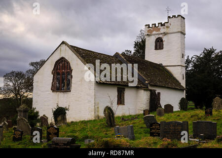 St Cadoc's church, Llangattock Lingoed, near Abergavenny, a medieval parish church. - Stock Image