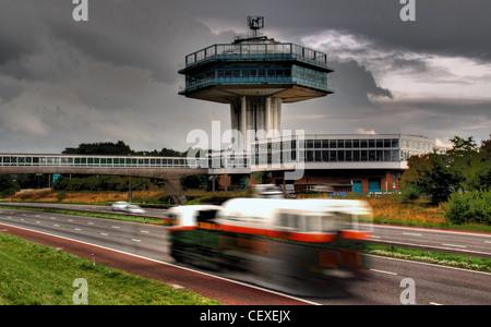 M6 Motorway, Lancaster Moto Services iconic Tower - Stock Image