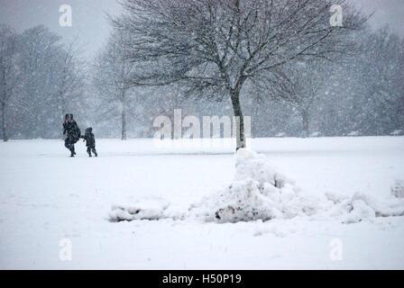 Snow in Victoria Park - Stock Image