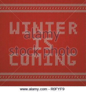 Knitted Pattern. Winter is Coming - Stock Image