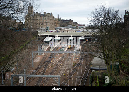 Looking down into Waverley Railway Station from East Princess Street Gardens in Eduinburgh - Stock Image