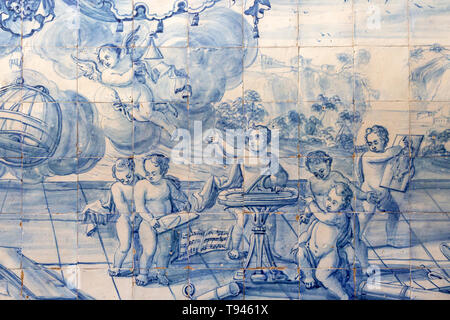 Blue and white azulejo tiles pictures related to geometry and mathematics, University of Evora, Portugal - Stock Image