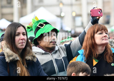 London, UK. 17th Mar 2019. Thousands who packed in Trafalgar Square to celebrate St Patrick day 2019 on 17 March 2019, London, UK. Credit: Picture Capital/Alamy Live News - Stock Image