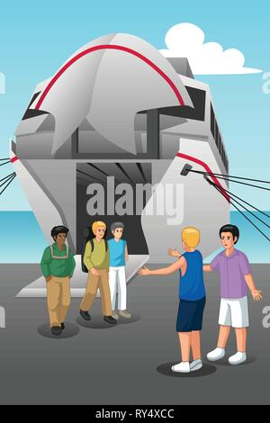 A vector illustration of Young Men Coming Out from the Ferry - Stock Image