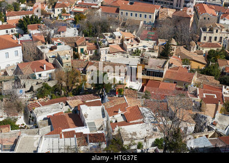Rooftops of Plaka area at Athens - Stock Image