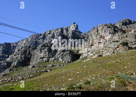 Table Mountain and Cable Cars, Cape Town, Western Cape, South Africa - Stock Image