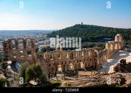Europe Greece Athens Acropolis looking down on Odeon of Herodes Atticus amphitheater - Stock Image