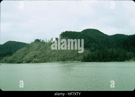 Clear cut forest, hillside denuded; Inside Passage near Sitka, Alaska. - Stock Image