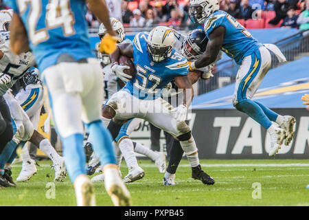 21st October 2018 LONDON, ENG - NFL: OCT 21 International Series - Titans at Chargers  Los Angeles Chargers Linebacker Denzel Perryman (52) - Credit Glamourstock - Stock Image