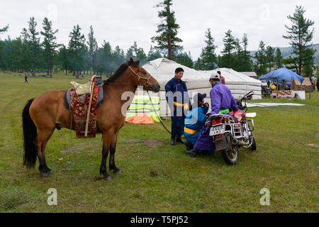 Naadam Festival in Khatgal, Mongolia.Youths in their traditional clothes - Stock Image