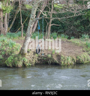 Kids' car tyre swing hanging over a river. - Stock Image
