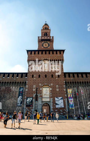 Vertical view of Sforza Castle in Milan, Italy. - Stock Image