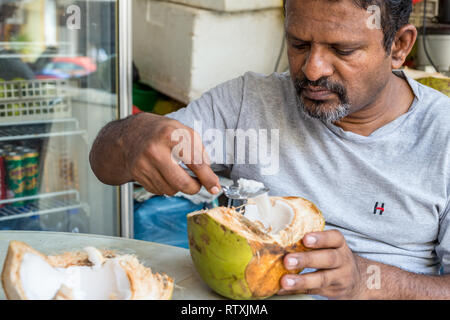 Man Eating Coconut Pulp after Drinking Coconut Water, Kuala Lumpur, Malaysia. - Stock Image