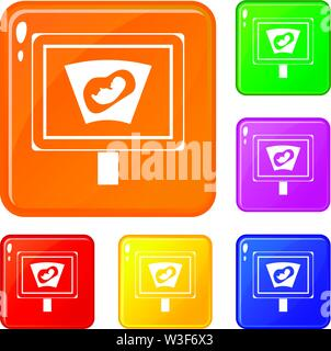 Ultrasound of baby in mother womb icons set vector color - Stock Image