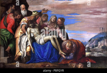 Deposition of Christ, 1548-49 by Paolo Caliari, called the Veronese (1528-1588), , oil on canvas  Italy Italian - Stock Image