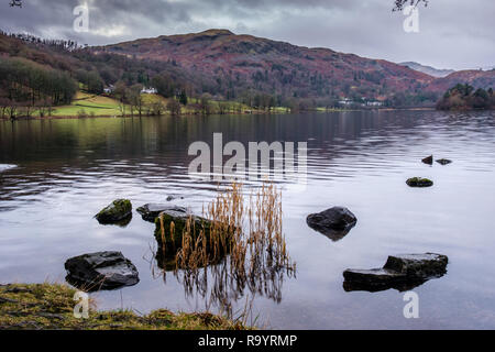Silver How across the lake at  Grasmere, Lake District, Cumbria - Stock Image