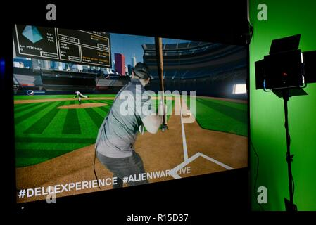 'Dell Experience' playing baseball virtual reality CES (Consumer Electronics Show), the world's largest technology trade show, held in Las Vegas, USA. - Stock Image
