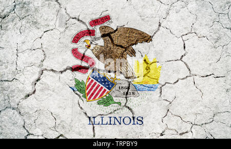 Flag of the state of Illinois,  state in the Midwestern and Great Lakes region of the United States, on dry earth ground texture background - Stock Image