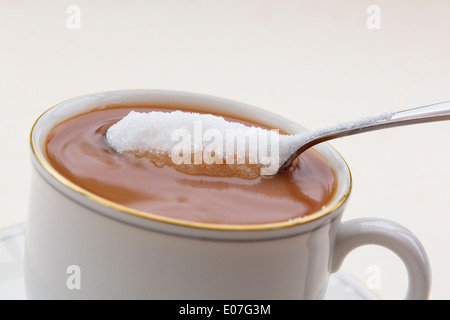 Adding a spoonful of granulated white sugar in to a cup of tea in a white china teacup. England, UK, Britain - Stock Image