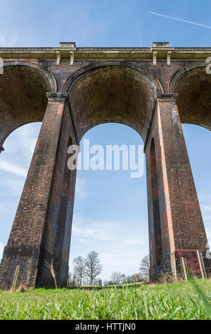 View from below looking upwards at the Ouse Valley (Balcombe) Viaduct, West Sussex, UK - Stock Image