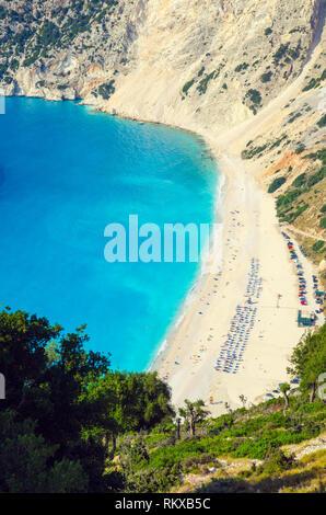 Myrtos beach, Kefalonia island, Greece. Beautiful view of Myrtos bay and beach on Kefalonia island - Stock Image