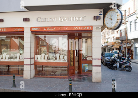 One of the many jewellery and watch shops Rethymno Crete Greece - Stock Image