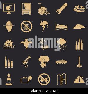 Fright icons set, simple style - Stock Image