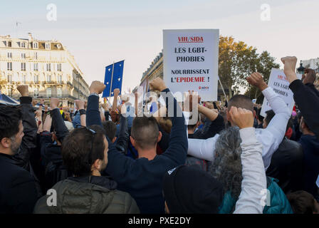 Paris, France. 21st Oct 2018. French LGBT Demonstration against Homophobia, Recent Anti-gay violence Credit: Directphoto Collection/Alamy Live News - Stock Image