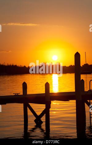 Boat Dock Sunrise - Stock Image