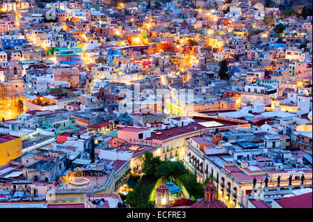 Guanajuato, Mexico at night from above. - Stock Image