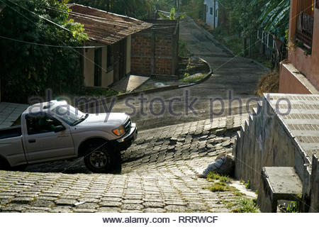 A truck comes up a a hill in Boaco, Nicaragua, the city of two floors (two levels). - Stock Image