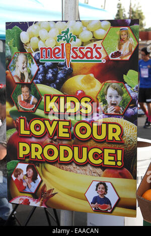 Melissa's kids love our produce sign - Stock Image