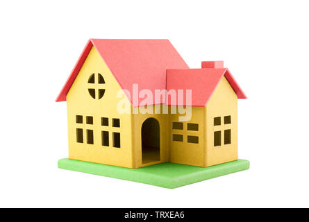 Colorful cardboard toy house isolated on white with clipping path - Stock Image