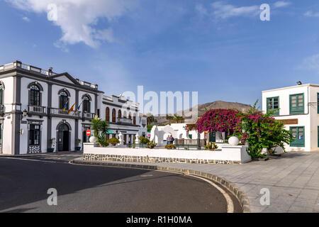 Plaza de la Constitución, a small sqare alongside the town hall, Haria Lanzarote - Stock Image