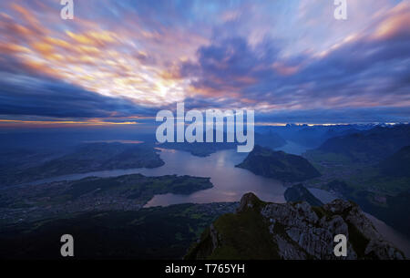 Sunrise over the Lake Lucerne - Stock Image