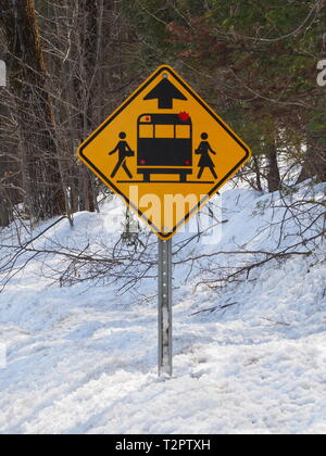 Quebec,Canada. Advanced school bus warning warning sign. - Stock Image