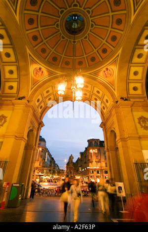 Switzerland Zurich railway station at twilight Portal towards the Bahnhofstrasse - Stock Image